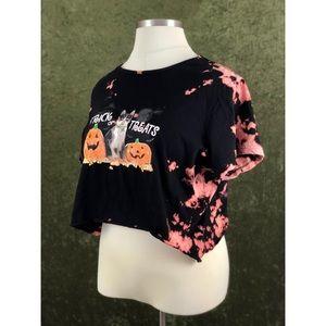 🌈Trick or Treat tie dye style bleached crop top